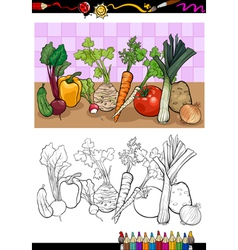 vegetables group for coloring vector image