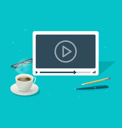 Video watching on abstract isometric working desk vector