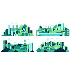 village landscape minimalist town views city vector image