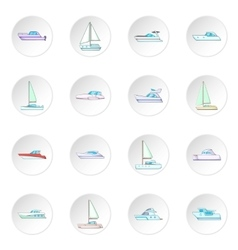 Yachts icons set vector