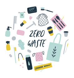 zero waste reusable items vector image