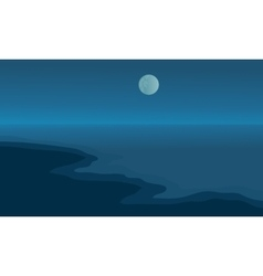 Beach at night scenery with moon vector image vector image
