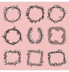 Big set of floral graphic design elements vector image vector image