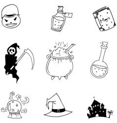 Halloween hand draw doodle vector image