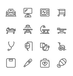 hospital and medical equipment icons set line vector image vector image