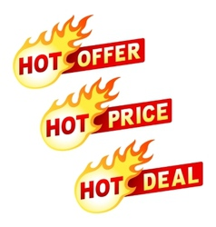 Hot offer price and deal flame sticker badges vector