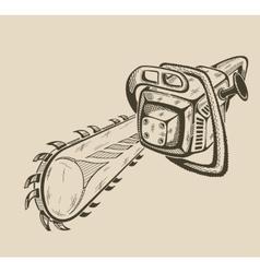 monochrome chainsaw vector image