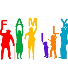 Family concept with colored silhouettes of vector image vector image