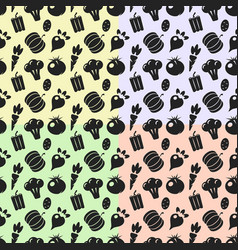 seamless pattern with silhouettes vegetables on vector image vector image