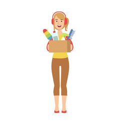 woman in headset holding box of household vector image vector image
