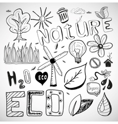 Ecology nature doodles vector image