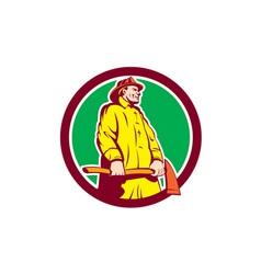 Fireman Firefighter Standing Axe Circle Retro vector image