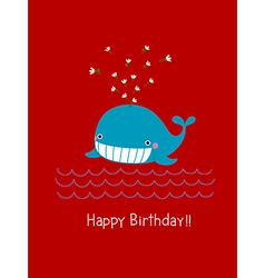 Happy birthday card with cute whale vector image