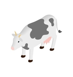 Spotted cow isometric 3d icon vector image