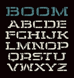 Stencil plate font in racing style vector image