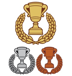 trophy cup with laurel wreath vector image vector image