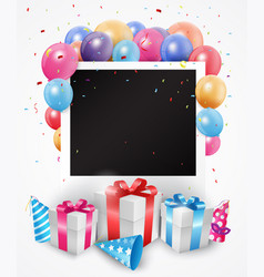 colorful birthday balloon with photo frame vector image vector image
