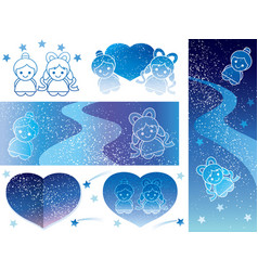 Milky way 6 star festival template vector