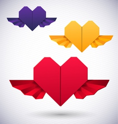 Paper origami hearts vector image
