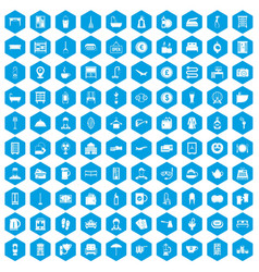 100 inn icons set blue vector