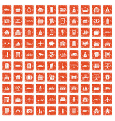 100 property icons set grunge orange vector image