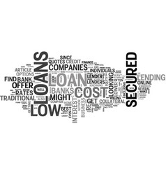 A guide to low cost secured loans text word cloud vector