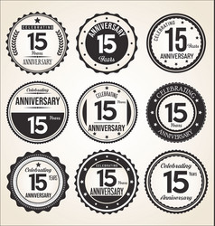 anniversary retro vintage black and white badges vector image