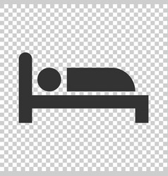 bed icon in flat style sleep bedroom on isolated vector image