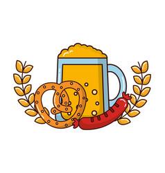 Beer jar beverage with pretzel and sausage in vector