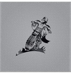 Biker man vintage emblem on metal background vector
