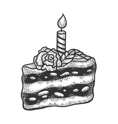 birthday cake sketch engraving vector image