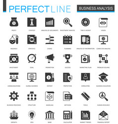 black classic business analytics icons set vector image