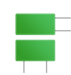 blank green road signs vector image