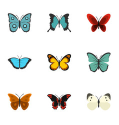 brightly colored butterfly icons set flat style vector image