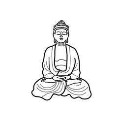 Buddha line drawing vector