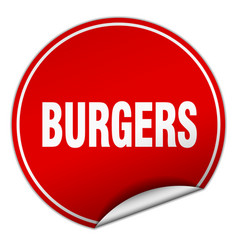 Burgers round red sticker isolated on white vector