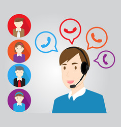 Call center support personnel staff and customer vector