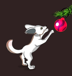 cartoon little fox decorate cristmas tree vector image vector image