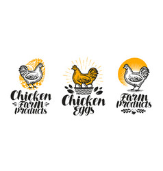 Chicken hen label set poultry farm egg meat vector