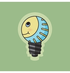 Concept green ecology bulb smiling vector