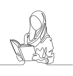 Continuous line muslim woman student reading a vector