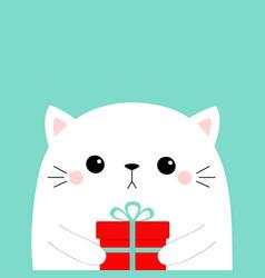 cute cat holding gift box cute cartoon kitten vector image