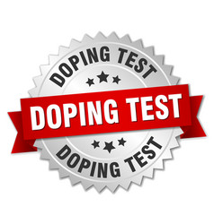 Doping test round isolated silver badge vector