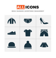 Dress icons set collection of cardigan heel vector