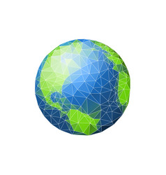 earth in low poly planet green ocean vector image