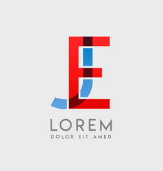 Ej logo letters with blue and red gradation vector