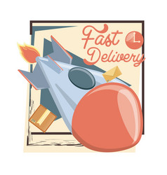 fast delivery service with rocket travel vector image