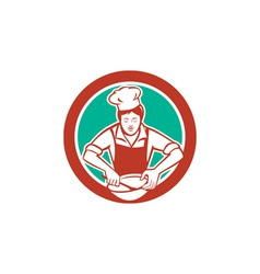 Female Chef Mixing Bowl Circle Retro vector image
