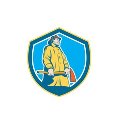 Fireman Firefighter Standing Axe Shield Retro vector