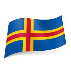 Flag of Aland Islands vector image